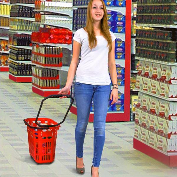 Plastična potrošačka korpa za prodavnice i supermarekte sa točkicima